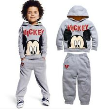 Cartoon Mickey Mouse Kids Boys Cotton Outfits Tracksuit Sportwear Hoodies Sets