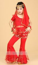 Kids Girls Belly Dance Costume Bollywood  Indian Dance Outfit Top Flare Pants
