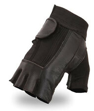 Mens Womens Leather With Elastic Back Fingerless Black Motorcycle Riding Gloves