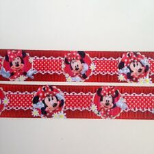 """1/2/3/5 yards red Minnie Mouse 7/8"""" 22mm Grosgrain Ribbon Hairbows Birthday Cake"""