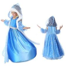 FROZEN ELSA SNOW HOODED CAPE PRINCESS DRESS COSTUME KIDS GIRL PARTY FANCY