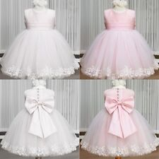 Wedding Bridesmaid Party Lace Flower Bow Girls Princess Gown Fancy Dress 2-7Y