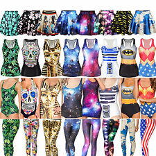 Mujeres impresas Digital One Piece Bikini Tank Top Falda Corta Vestidos Leggings