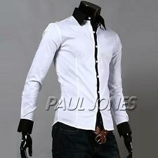 Tailored / Slim Fit Mens Casual Cuff White Dress Shirt Long Sleeve S M L XL