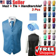 Fashion Men's Formal Casual Dress Vest Tie Suit Slim Tuxedo Waistcoat Coat SETS
