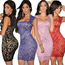 Women Lace Sleeveless Clubwear Cocktail Party Evening Stretch Bodycon Mini Dress