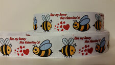 Grosgrain Ribbon, Bee My Honey this Valentine's Day, Red Hearts, Honey Bee, 7/8""
