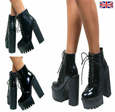WOMENS LADIES CHUNKY PLATFORM BOOTS CLEATED SOLE HIGH HEEL SHOES LACE UP SIZE