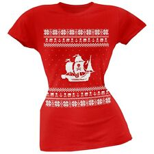 Pirate Ship Ugly Christmas Sweater Red Juniors T-Shirt Top