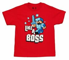 Minecraft Like A Boss Officially Licensed Youth Red T-Shirt