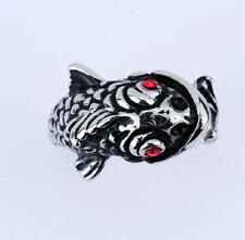 316L Stainless Steel Fashion Punk Red Crystal Eys Fish Ring US Size 8-12 NG10