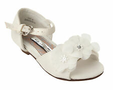 GIRLS IVORY SATIN BRIDESMAID PARTY WEDDING KITTEN HEEL SANDALS SHOES SIZE 6-12