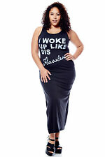 Womens Ladies Plus French Terry Maxi Dress FREE SHIPPING Casual Trendy