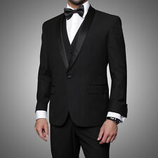Statement Black 1-Button Tuxedo Suit Shawl Lapel Modern Fit 100% Wool $899