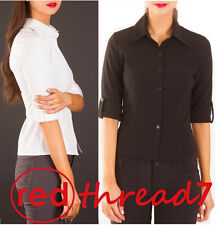 Womens Work Shirt Office Stretch 3/4 Sleeve Blouse Corporate Business Top Black