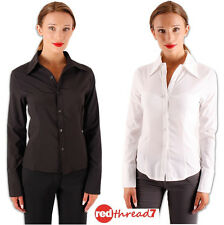 Womens Work Fitted Stretch Button Blouse Shirt Corporate Business Top White Blak