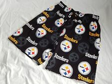 Pittsburgh Steelers Sleep Shorts Mens Sizes NFL Team Apparel Football Black Logo