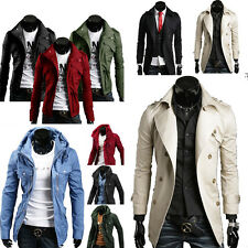 Men's Trench Military Coat Jacket Double Breasted Slim Fit Parka Long 5 Styles