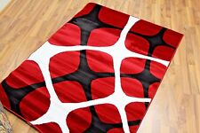 Red Black White Modern Area Rug 5x7, 8x10 Contemporary New Carpet