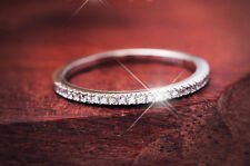 WOMEN'S CZ STERLING SILVER ANIVERSARY WEDDING BAND SKINNY RING SIZE 4-10 SS1853