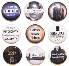 "1"" (25mm) Sherlock Holmes Button Badge Pin Collection - High Quality -MADE IN UK"