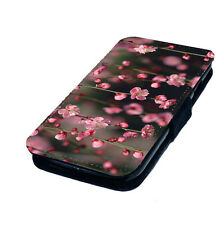 Cherry Blossom Flower Designs - Printed Faux Leather Flip Phone Cover Case