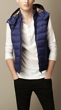 """NEW Burberry Brit Nova Check """"Moores"""" Down Quilted Hooded Vest Blue Store Tags"""