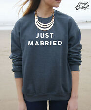 * Just Married Jumper Top Sweatshirt Fashion Gift Girl Fresh Couple *