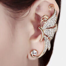 Stylish Gold White Crystal Butterfly Ear Cuffs Left Clip Cartilage Cuff Earrings