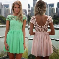 Trendy Boat Neck Backless Crochet Lace Chiffon Women's Cocktail Party Dress New