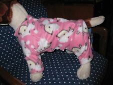 dog clothes/pink fleece puffy pups pajamas/homemade w/love by a dog lover