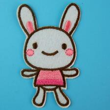 Rabbit Bunny Iron on Sew Patch Embroidery Applique Badge Retro Embroidered Cute