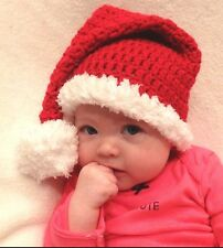 CROCHET SANTA BABY HAT with FUZZY TRIM knit infant toddler child photo prop USA