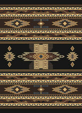 SOUTHWESTERN black MULTI native AMERICAN carpet RUSTIC lodge STRIPED area RUG