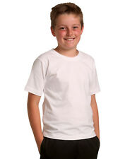KIDS PREMIUM TEE UNISEX 100% COMBED COTTON JERSEY CREW NECK PLAIN T SHIRT TS01KA
