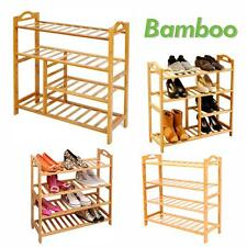 4 Tier Bamboo Wood Bench Shoes Boots Rack Organiser Shelf Stackable Stand