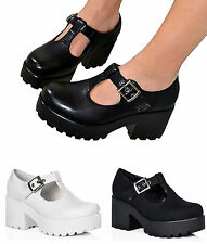 LADIES WOMENS GIRLS CUT OUT CHUNKY DOLLY GEEK SHOES SCHOOL WORK BROGUES PUMPS