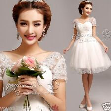 White lace short paragraph Princess Bride Bridesmaid Lace Wedding Dress 2015(11)
