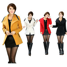 Womens Wool Blend Belted Lapel Single Button Trench Coat Outwear Jacket