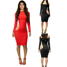 New Women's Crew Neck Hollow Hip Fitted Long Sleeve Bandage Dress Sexy Clubwear