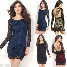 Sexy Women Lace Beaded Bodycon Slim Long Sleeve Party Cocktail Club Mini Dress