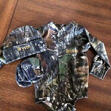 Personalized Mossy Oak Camouflage Camo 3PC Long Sleeve Set Infant Newborn Baby