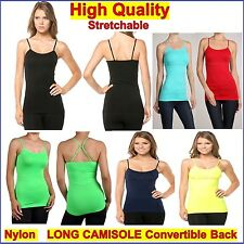 Basic Long Cami Camisole Tight Singlet Top Spaghetti Strap Spandex Convertible