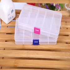 Plastic 15/10 Slots Adjustable Jewelry Make Up Storage Box Case Craft Organizer
