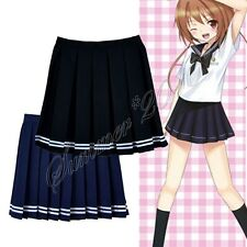 Japanese College Girls School Uniform Short JK Sailor Solid Pleated Mini Skirt