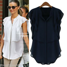 Women Chiffon Stand Collar Blouse Short Elegant Butterfly Sleeve Solid Color Top