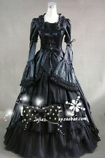 Ladies Black Gothic Victorian Gown Ball Lolita Dress Cosplay Costume Tailor Made