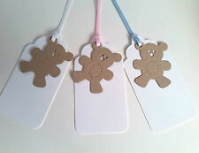 Baby Shower Tags ~ Teddy Gift Tags ~ Pink Blue White ~ Boy Girl Unisex