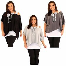 New Ladies Plus Size 2 In 1 Necklace Tops Batwing Sleeve Tunic Tops 12-22