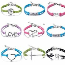 HOT Jewelry Fashion Leather Infinity Charm Bracelet Silver Lots Style Pick NEW